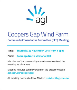Coopers Gap Wind Farm Community Consultative Committee meeting - click here