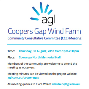 AGL Coopers Gap Wind Farm CCC Meeting - click here