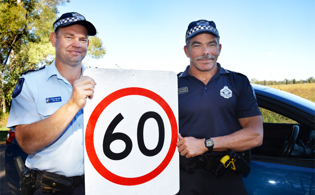 Senior Constable Jade Miller, from the Kingaroy Road Policing Unit, and Acting Sergeant Chris Watson, from the Gympie Road Policing Unit