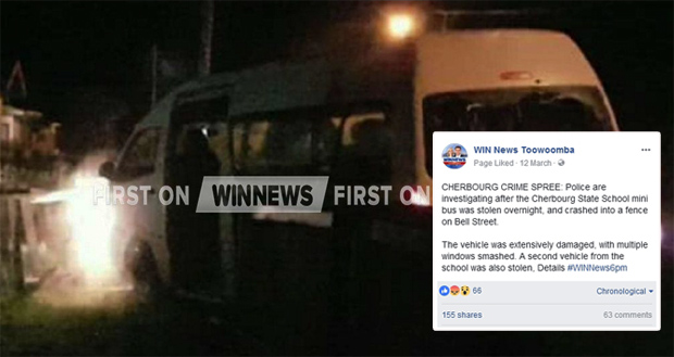 A WIN-TV report about of a recent mini bus theft in Murgon