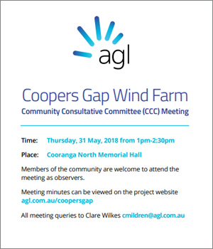 Coopers Gap Wind Farm Community Consultative Meeting - click here