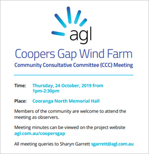 Coopers Gap Wind Farm CCC Meeting - click here