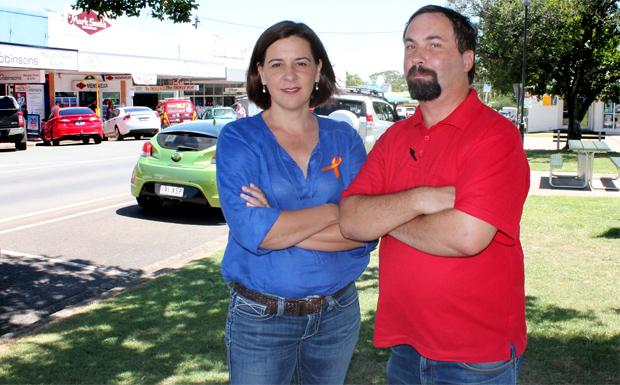 Opposition leader Deb Frecklintgton and Darren Buckley from Murgon Neighbouhood Watch