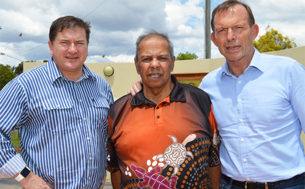 Member for Wide Bay Llew O'Brien, Uncle Eric Law and Indigenous Envoy Tony Abbott