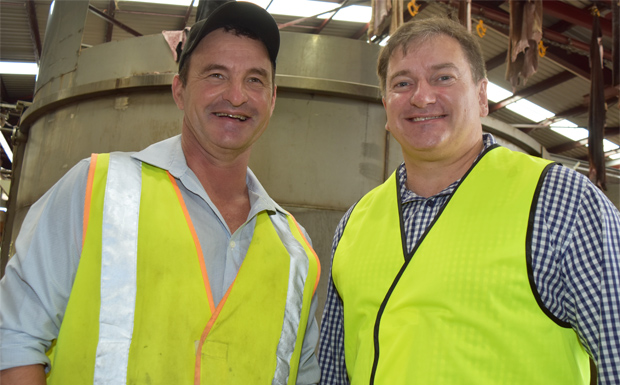 Teys Murgon general manager Scott Kapernick with Member for Wide Bay Llew O'Brien