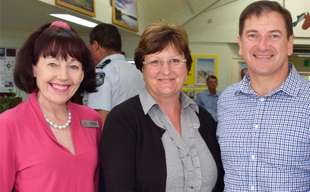 Deputy Mayor Kathy Duff, MBDA secretary Margaret Long and Member for Wide Bay Llew O'Brien