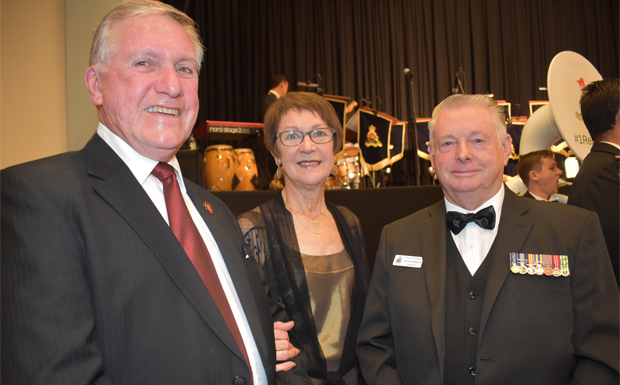 South Burnett Mayor Kewith Campbell, M<arion Campbell and Murgon RSL Sub-Branch president  Trevor Williamson OAM