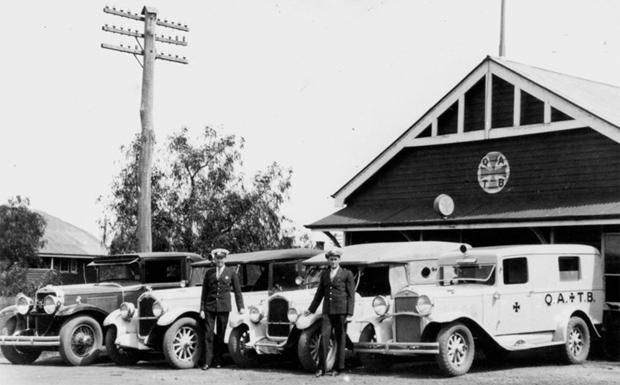 Ambulances lined up outside the Kingaroy Ambulance base in 1935