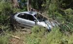 Car Skids Off Highway