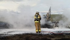 Driver Burnt<BR> In Truck Fire