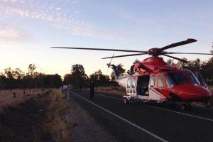 Injured Girl Airlifted<br> After Highway Crash