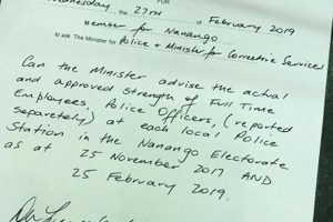 Nanango MP Questions Police Levels