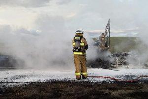 Driver Burnt In Truck Fire