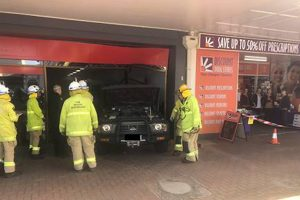 4WD Crashes Into Shop