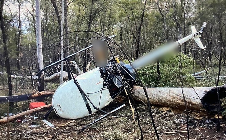 Pilot Escapes Crashed Chopper