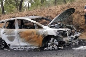 Crashed Car Catches Fire